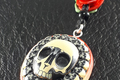 Red Rose Skull Pendant 001